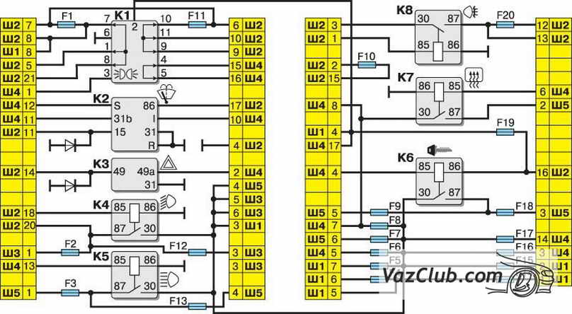 Ваз 2114 Схемы Электрооборудования