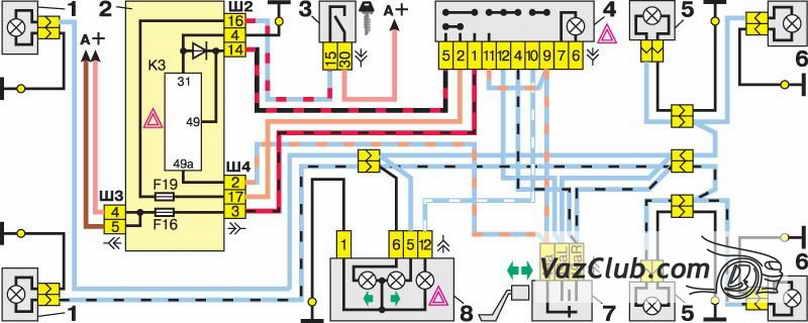 схема указателей поворота и