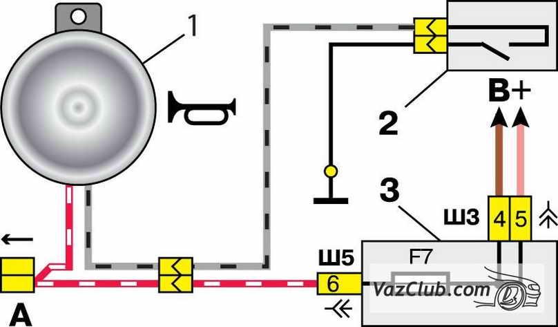схема включение сигнала ваз