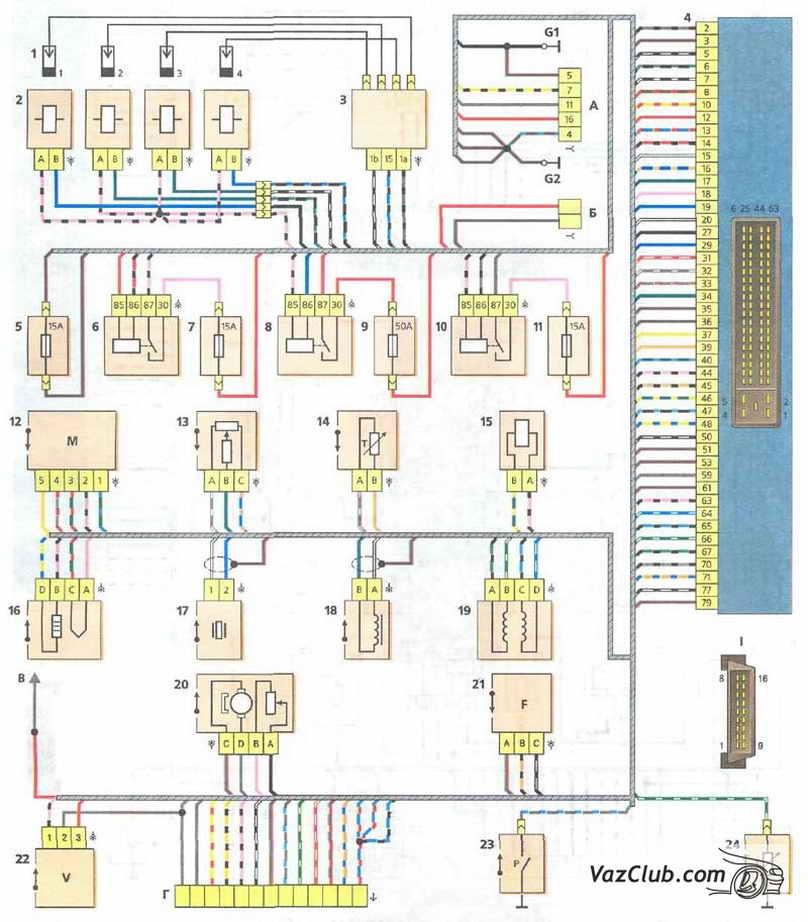 Схема соединений системы управления двигателем ВАЗ-21114 с распределенным впрыском топлива под нормы тоскичности...