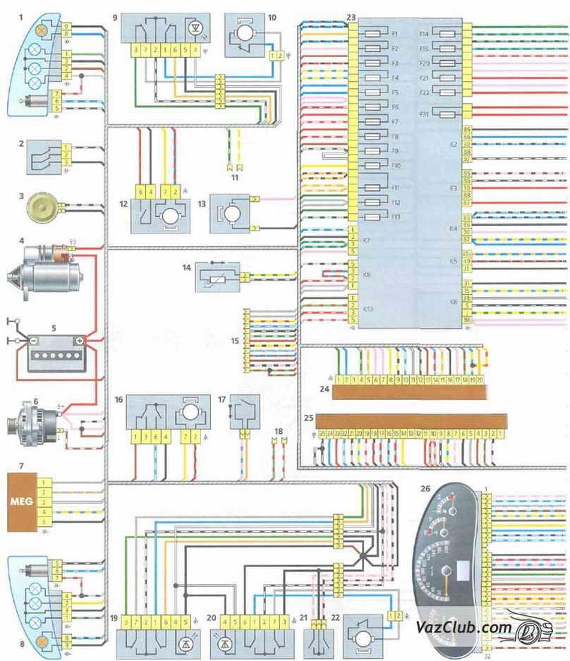 "... ""Схема электрооборудования ВАЗ-1118  ""Калина ""Схема электрооборудования автомобиля: 1 - правая блок-фара; 2 - датч."
