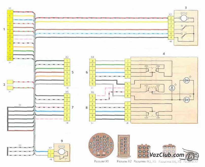 Ваз 2118 калина схема блокировки дверей электрическая схема.