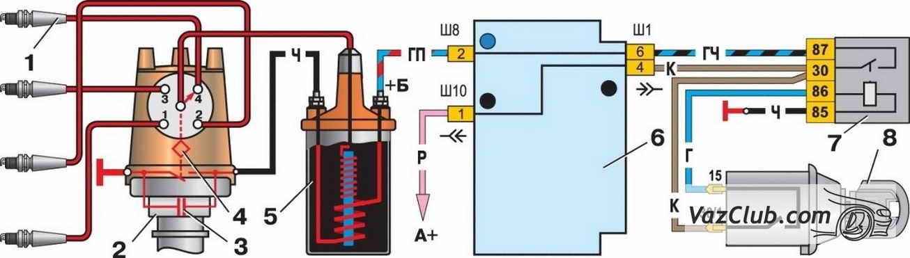 На представленных вам рисунках изображены схемы зажигания ВАЗ 2107 - контактная (классическая) и бесконтактная...