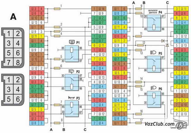 Схема соединений монтажного блока на ВАЗ 2107.  Принципиальные схемы электрооборудования на ВАЗ 2107 1982+ г.в., для...