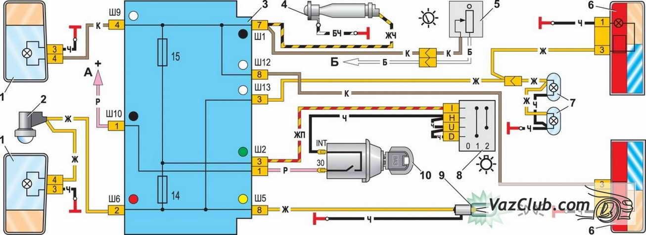 Электросхема лада калина -
