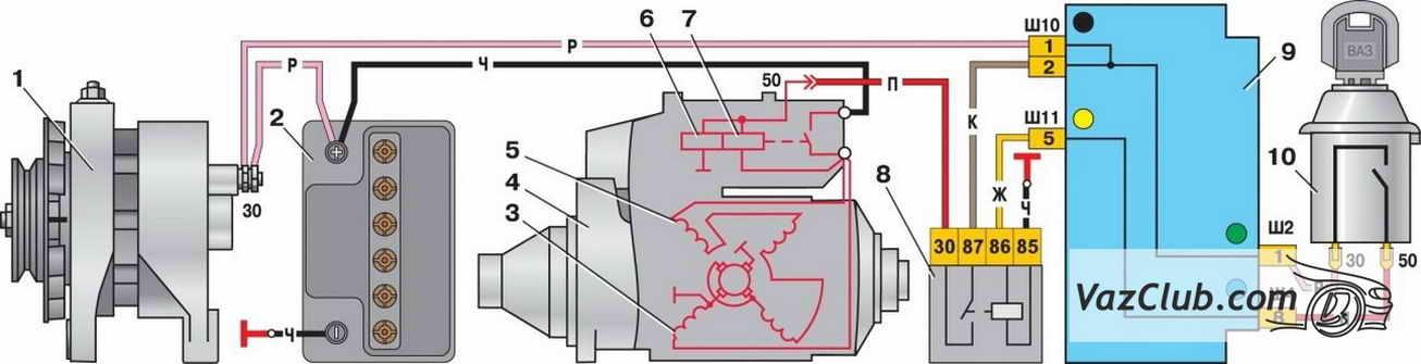 Фото №11 - схема подключения реле стартера ВАЗ 2110