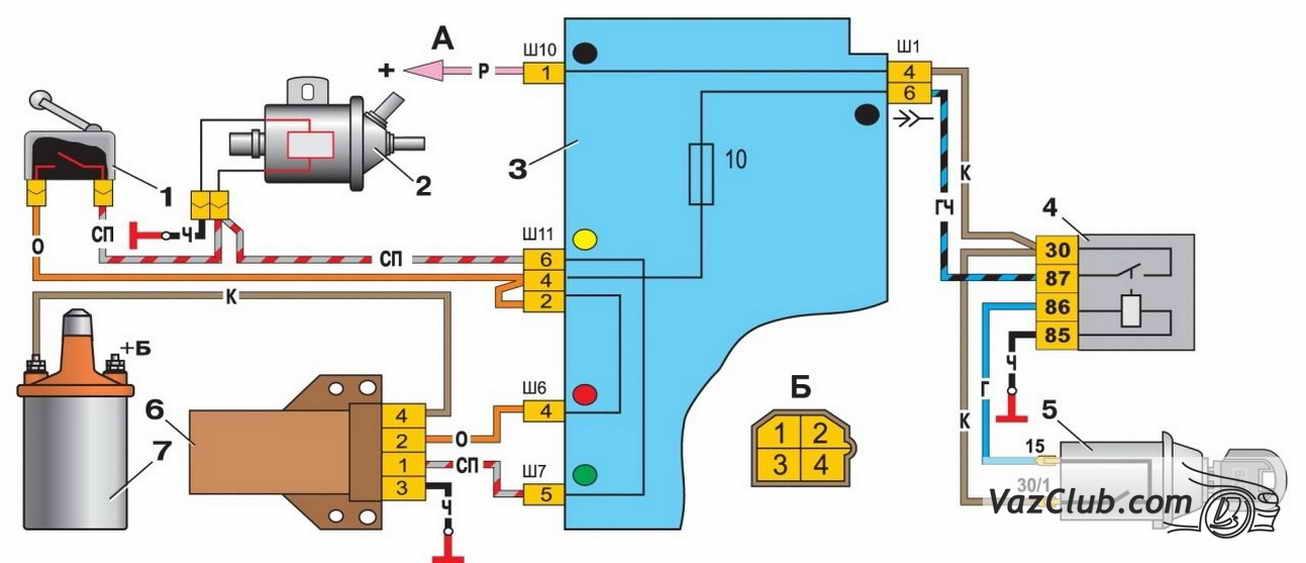 Схема подключения трамблёра ваз 2107