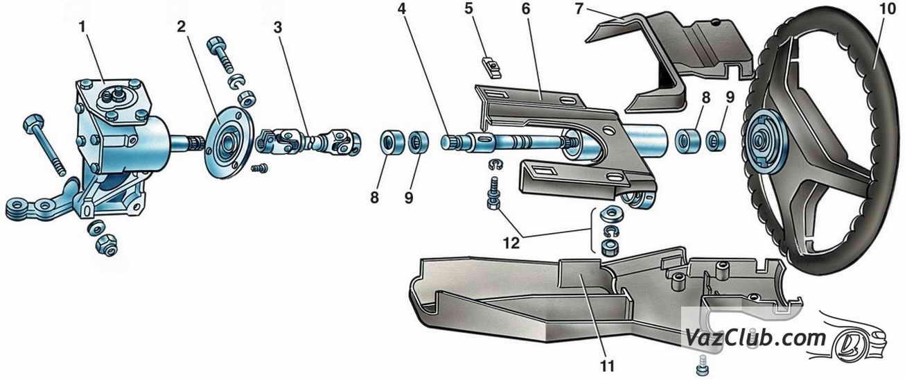 Детали рулевого механизма: 1