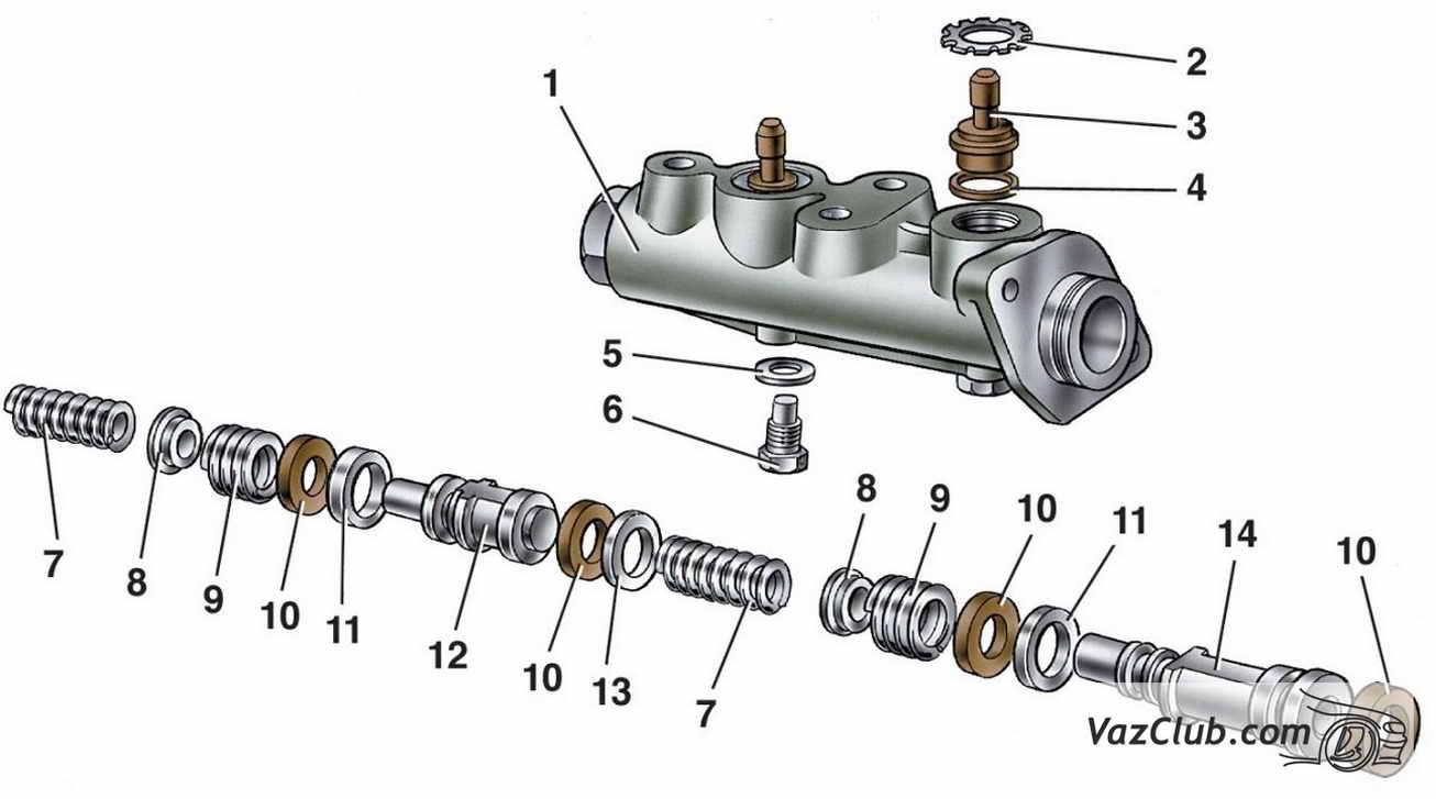 Схемы главный тормозной цилиндр ваз.