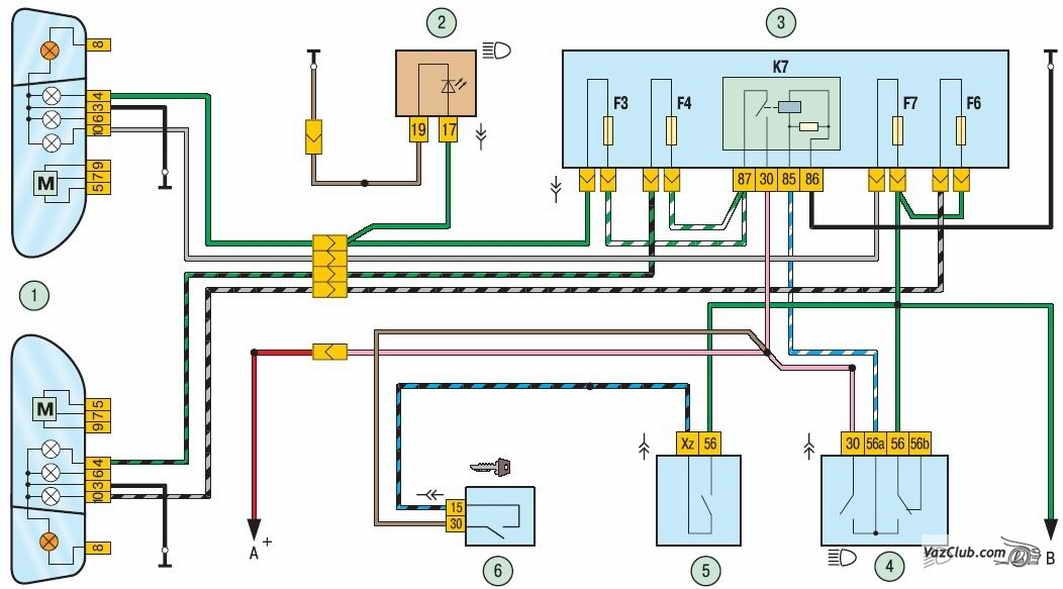 Схема включения фар: 1 - блок-фары; 2 - контрольная лампа включения дальнего света фар в комбинации приборов; 3...