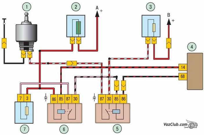 ...номера элемента схемы к которому присоединяется данный провод Особенности системы управления двигателем.