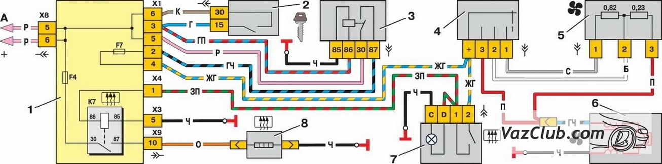 Схема реле вентилятора ваз 21099