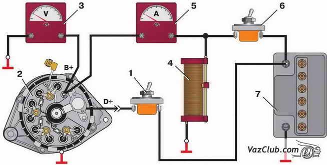 Рис. 2. Схема соединений для проверки генератора осциллографом: 1 - выключатель; 2 - генератор; 3 - вольтметр; 4...