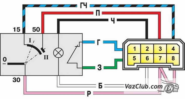 Схема выключателя зажигания